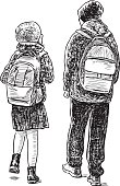 the brother and the sister go home from school