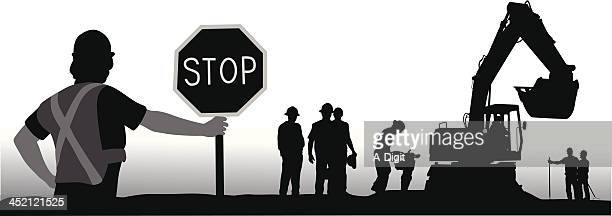 the builders - road construction stock illustrations