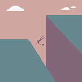 The businessman fell off the cliff.