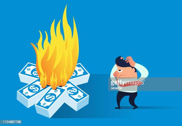 the businessman found that the money was on fire - money to burn stock illustrations, clip art, cartoons, & icons