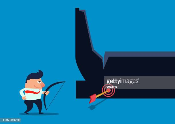 the businessman hit the giant's ankle with a bow and arrow, the giant's weakness - weakness stock illustrations