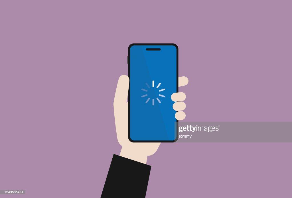 ビジネスマンは、ダウンロードシンボル付きの携帯電話を保持しています : ストックイラストレーション