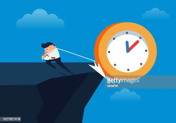 the businessman pulled the clock off the cliff - crag stock illustrations, clip art, cartoons, & icons