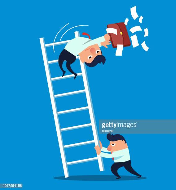 the businessman pushed his companion's ladder down - bad luck stock illustrations, clip art, cartoons, & icons