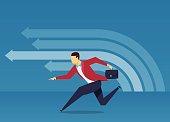 The businessman sprint