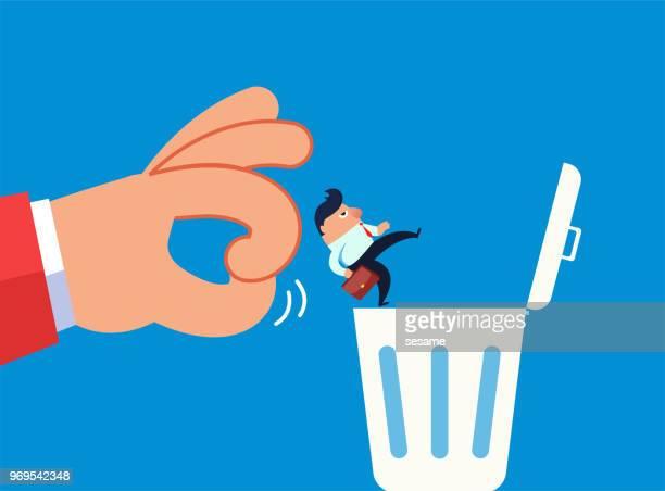 ilustraciones, imágenes clip art, dibujos animados e iconos de stock de el empresario fue arrojado a la basura por el gigante - tirar basura