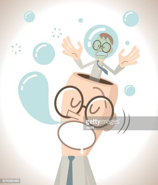 the businessman with open head is sleeping (napping) and snoring, the little man inside of the head is nervous - fool stock illustrations, clip art, cartoons, & icons