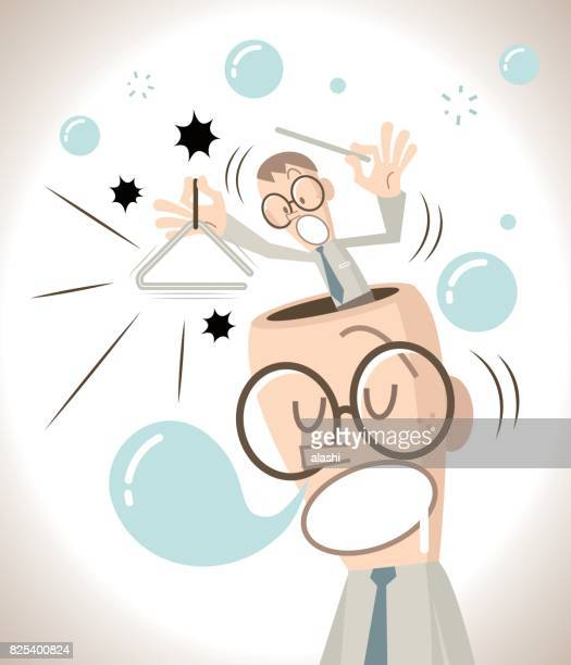 the businessman with open head is sleeping (napping) and snoring, the little man inside of the head tries to wake him up by playing the triangle - ignoring stock illustrations, clip art, cartoons, & icons