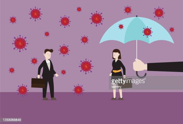 the businesswoman is safe from a virus by an umbrella - viral shedding stock illustrations