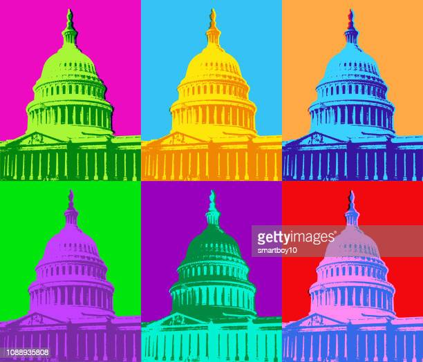 the capitol building in washington dc - politics concept stock illustrations