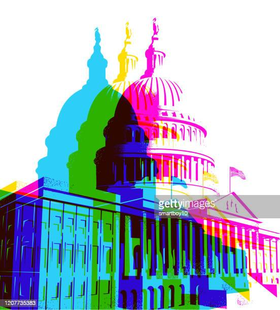 the capitol building in washington dc - political rally stock illustrations