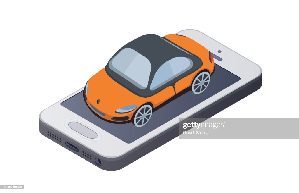 The car on the smartphone screen. Concept of mobile app for car buying or taxi service. Isometric vector illustration.