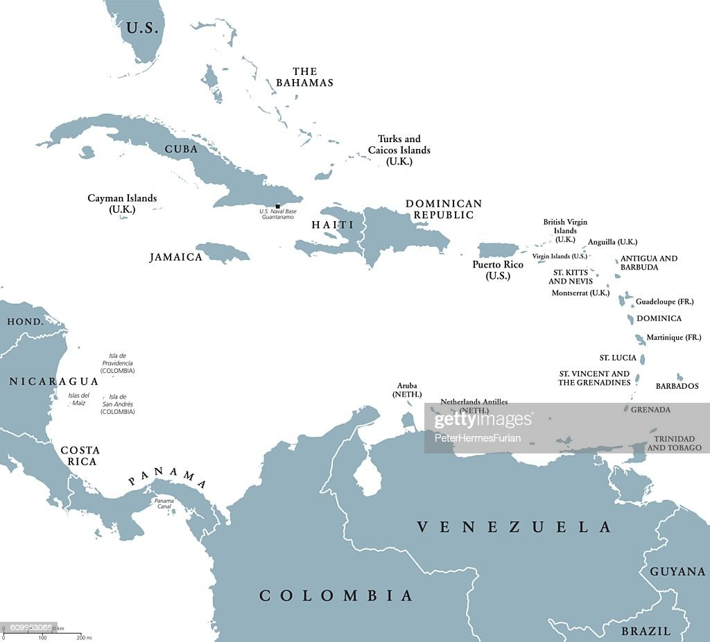 The Caribbean countries political map