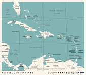 The Caribbean Map - Vintage Vector Illustration