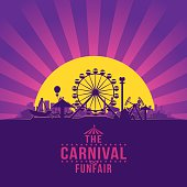 The carnival funfair and amusement