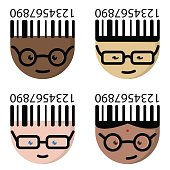 The cartoon characters with glasses