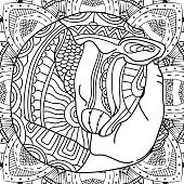 The cat in the arms. Coloring book page animal, with