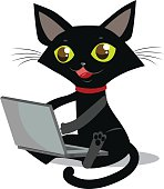 The cat is sitting. Vector cat. Cat and laptop.