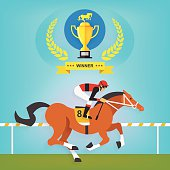 The champion of race horse riding, Vector illustration