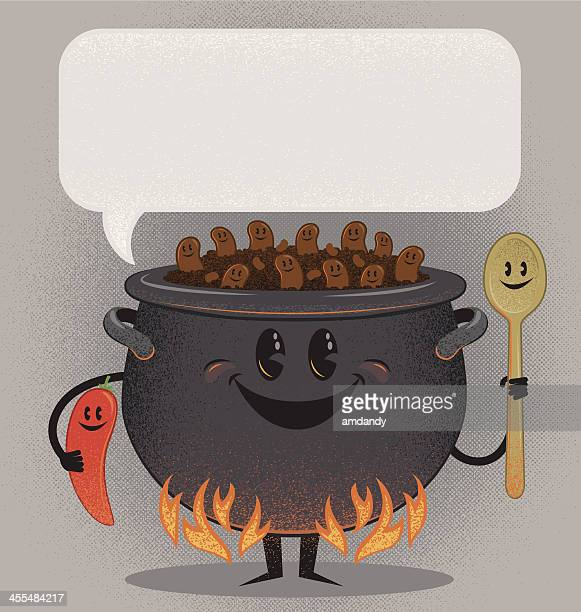 the chili cook out gang - bean stock illustrations, clip art, cartoons, & icons