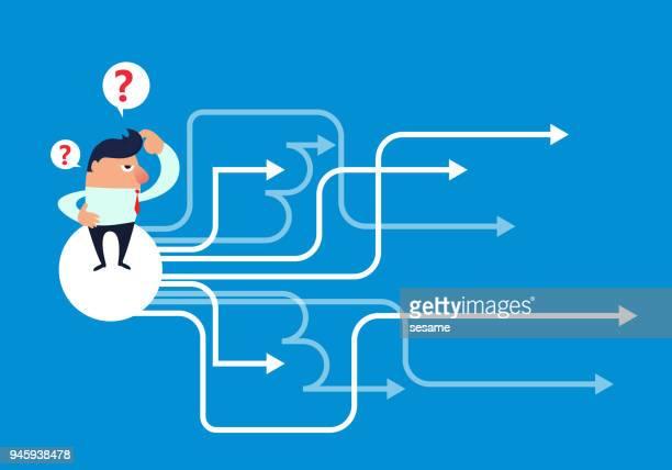 ilustrações, clipart, desenhos animados e ícones de a escolha do empresário - incerteza