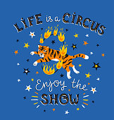 The circus poster with the tiger jumping in a fiery ring and the text - Life is a circus, enjoy the show. Bright hand drawn background.