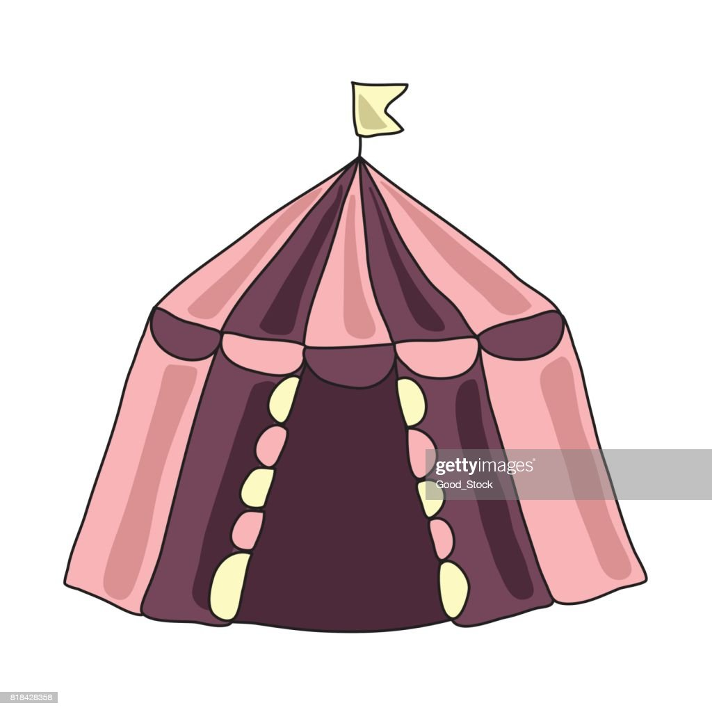 The circus tent or dwelling of nomadic people, Yurt. Vector illustratioin, isolated on white background.