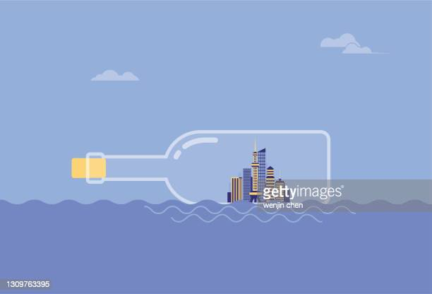 the city is packed in a drifting bottle, floating in the sea - driftwood stock illustrations