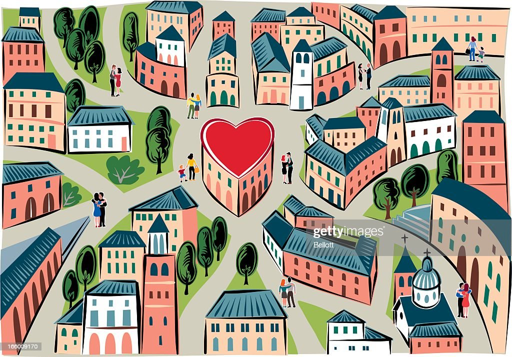 The city of love : stock illustration