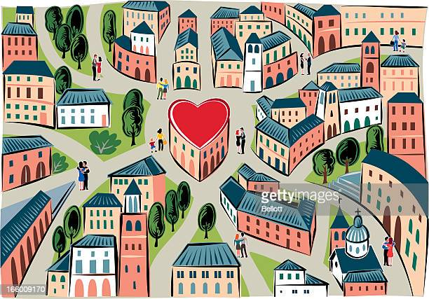 the city of love - human settlement stock illustrations, clip art, cartoons, & icons