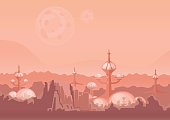 The city of the future, a space colony. Human settlement with futuristic buildings on Mars. Vector illustration.