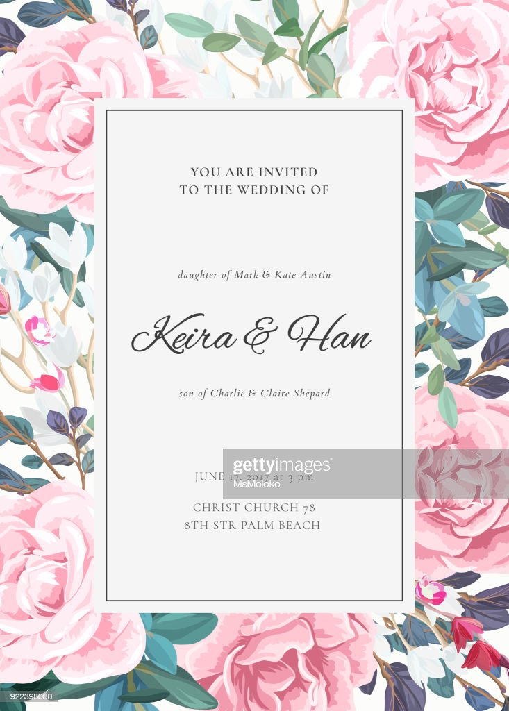 The classic design of a wedding invitation with flowering roses, plants, white flowers and leaves. Elegant vertical card template. Vector illustration