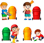 the collection of the boy with the trash bin in the different posing