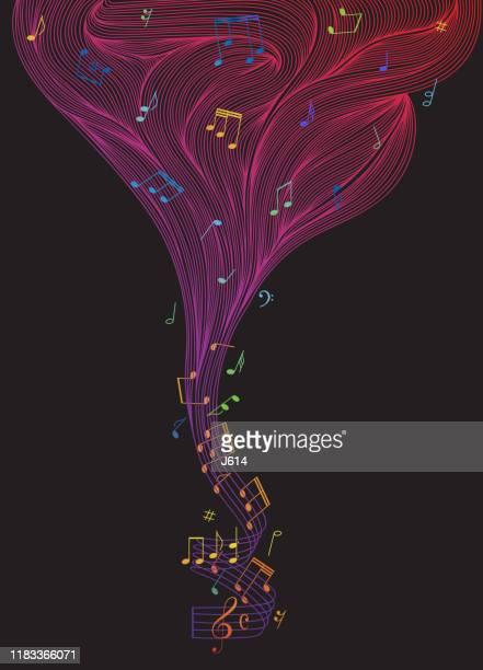 die farbe der musik - zauberer darstellender künstler stock-grafiken, -clipart, -cartoons und -symbole