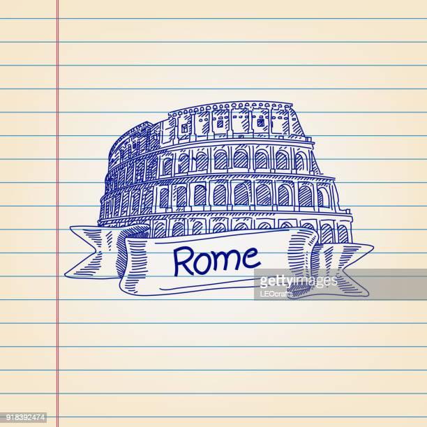 ilustrações, clipart, desenhos animados e ícones de o coliseu, o mundo famoso ponto turístico em roma, desenho em papel forrado - coliseu