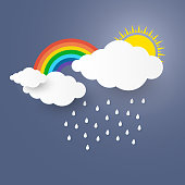 The Concept is rainy day or rainy season with paper art stlye. vector illustration