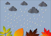 The Concept is Rainy season umbrella in the air with cloud and rain paper cut style. vector design element