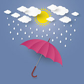 The Concept is Rainy season. umbrella in the air with cloud and rain .paper cut stlye.