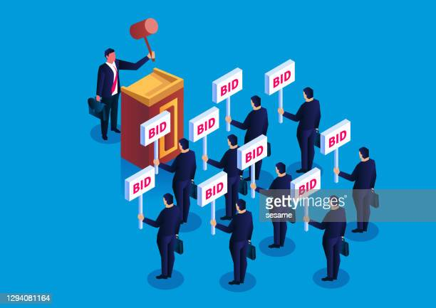 the concept of auction, public auction bidders, bidders, buyers and auctioneers - bid stock illustrations
