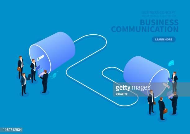 ビジネスコミュニケーションの概念は、ビジネスマンの2つのグループがスズ缶と話す - 離れた点のイラスト素材/クリップアート素材/マンガ素材/アイコン素材
