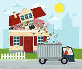 The concept of excessive consumerism. House bursting of stuff. Throwing away things from house. Junk removal.