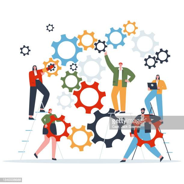 concept teamwork people customize system flat