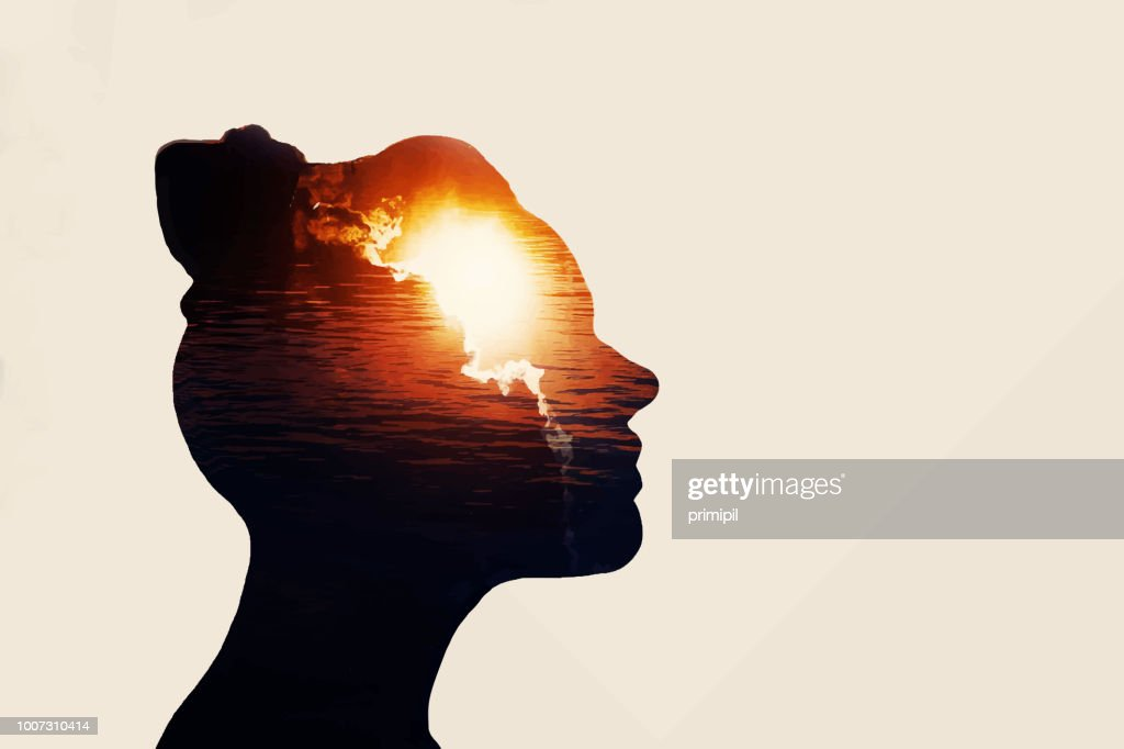 The concept of the power of knowledge. Silhouette of smart girl.