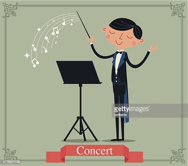 ilustraciones, imágenes clip art, dibujos animados e iconos de stock de el conductor; medio - director de orquesta