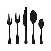 The contours of the cutlery. Spoon, knife, forks