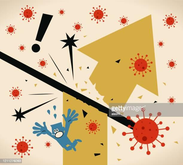 the coronavirus is already hurting the world economy, economic slowdown due to new coronavirus panic (covid-19, virus) - genetic mutation stock illustrations
