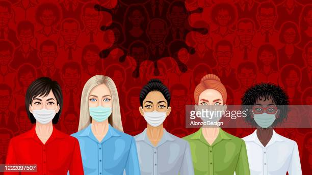 the coronavirus pandemic and the new world. invisible killer. - woman wearing protective face mask stock illustrations