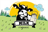 The cow in the meadow. Vector illustration. Dairy products, milk. Vector landscape.