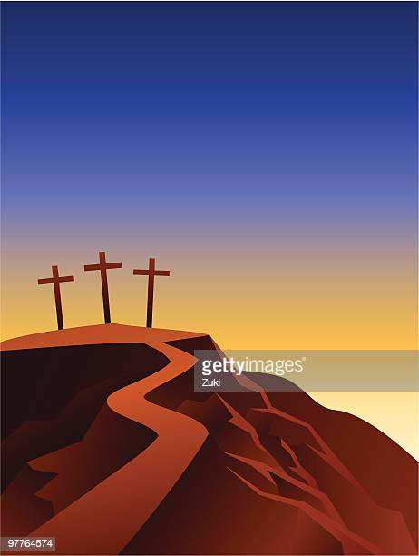 the crosses on the top of the hill - holy week stock illustrations, clip art, cartoons, & icons