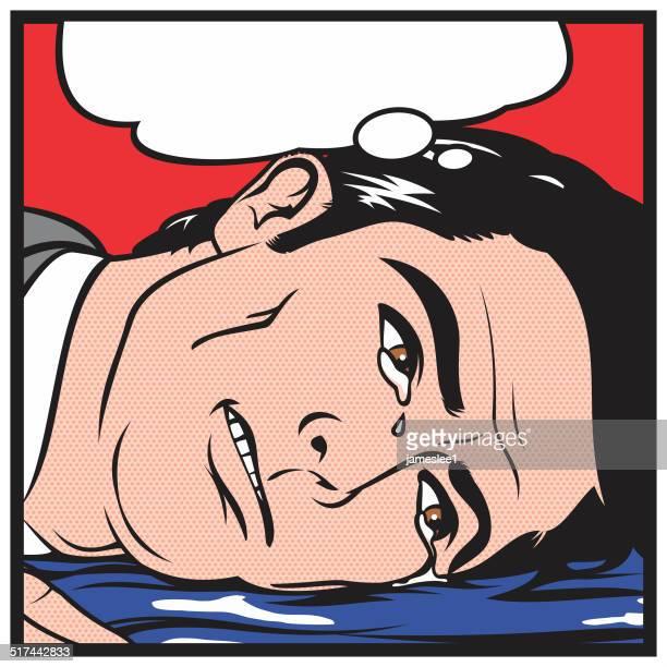 ilustraciones, imágenes clip art, dibujos animados e iconos de stock de el cryer - hombre llorando